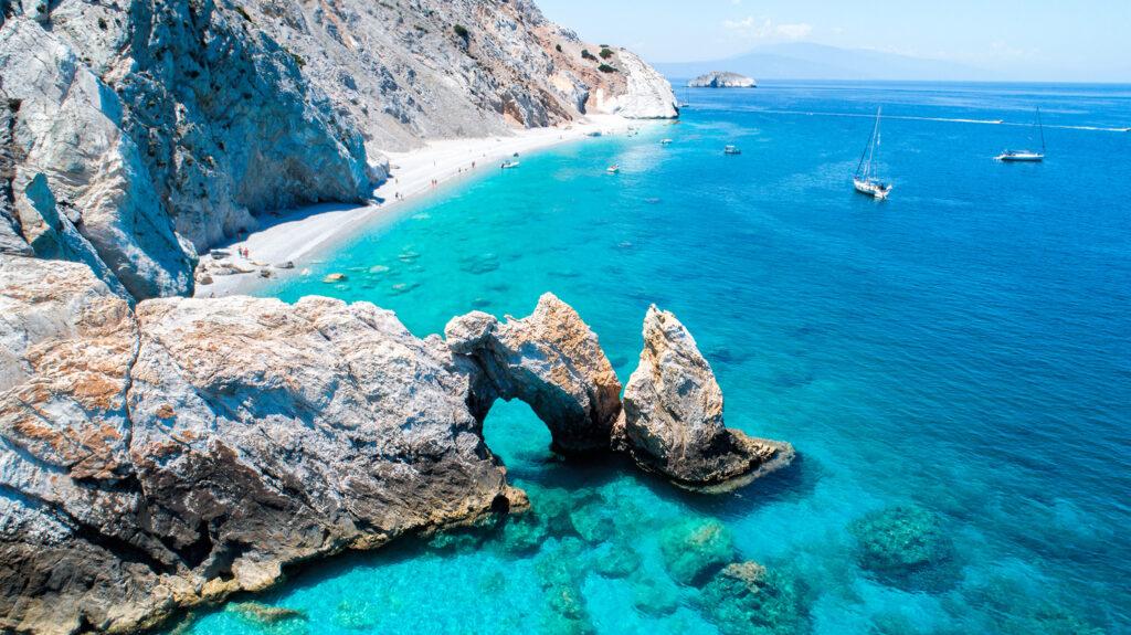 Aerial view of Lalaria beach in Skiathos, Sporades Greece