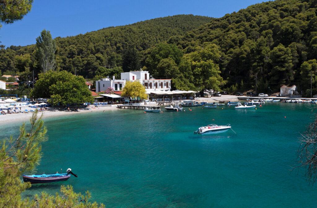 Agnontas bay in Skopelos island, Sporades Greece
