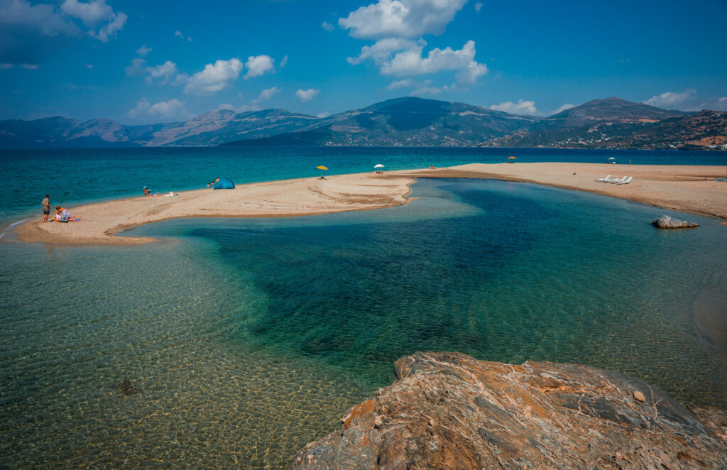 Beautiful Golden Sand Beach in southern Evia, Greece