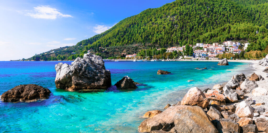 Village of Neo Klima and Hovolos beach in Skopelos, Sporades Greece