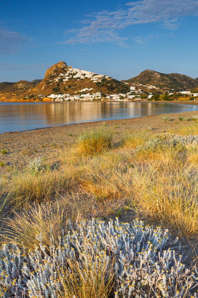 View of Chora in Skyros, seen from nearby beach, Skyros, Sporades Greece