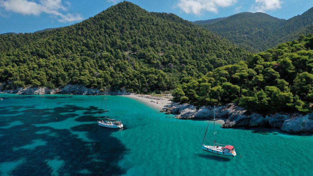 Famous pebbled beach of Kastani, where scenes in the Mamma Mia were filmed, Skopelos, Sporades Greece