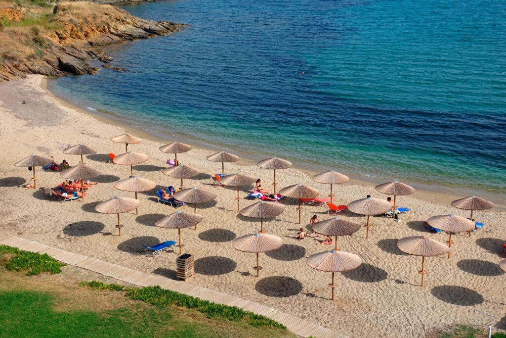 Main beach of seaside village Karystos in southern Evia, Greece