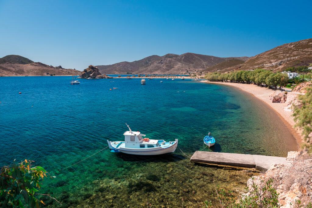 Grikos beach in Patmos, Dodecanese Greece