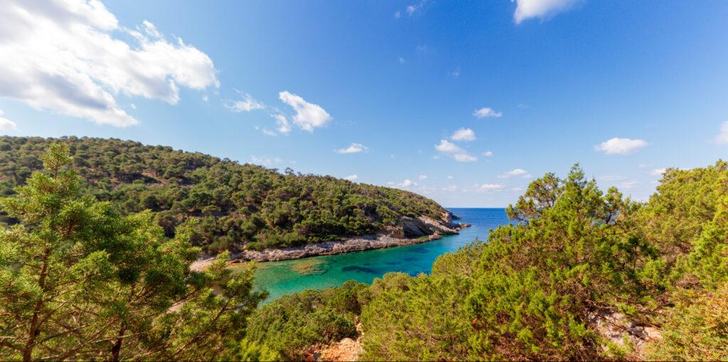 Secluded beach in Skyros island, Greece.