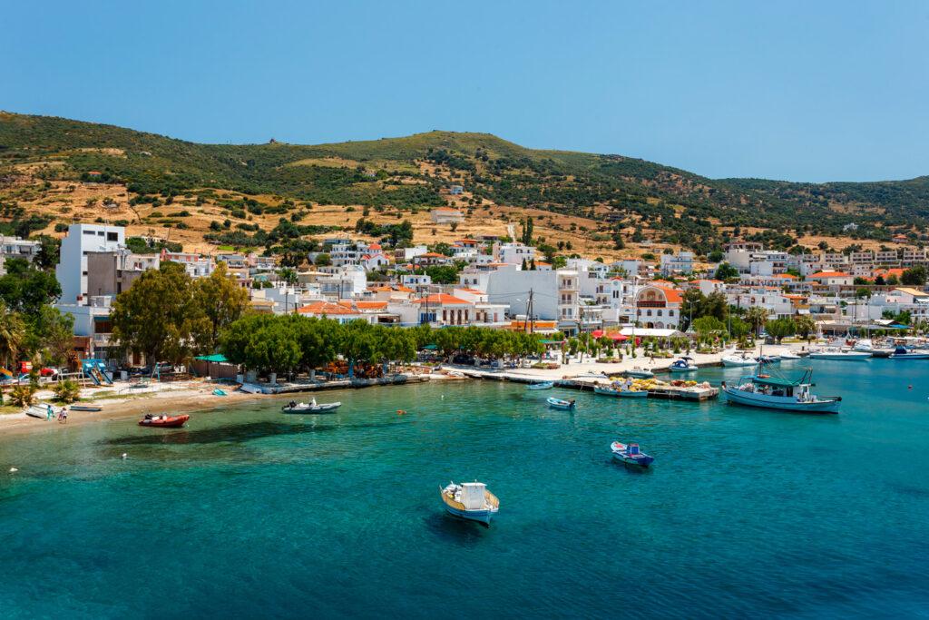 Marmari port with anchored fishing boats, Evia Greece