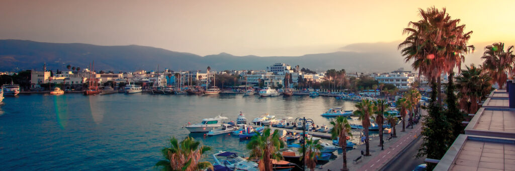 The capital of Kos with view of the marina at sunset, Kos, Dodecanese Greece