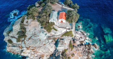 The famous small church of Agios Ioannis, where the wedding scenes of Mamma Mia were filmed in the islet of Kastri, 7 km east of Glossa, Skopelos, Sporades Greece