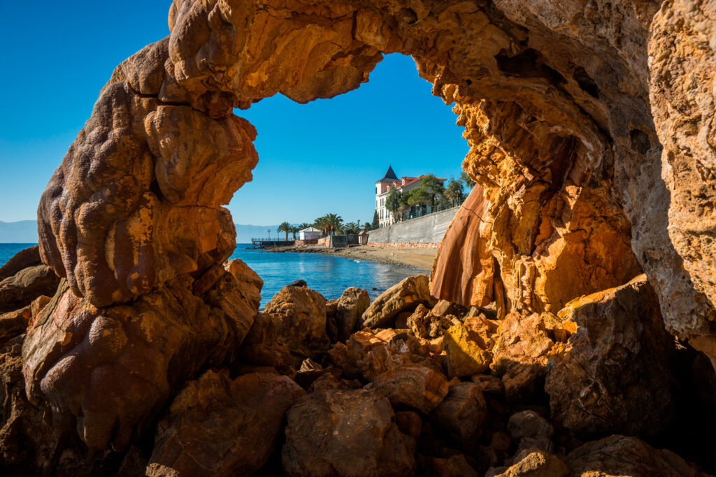 Beautiful rock formations at the thermal springs and baths in Edipsos Greece