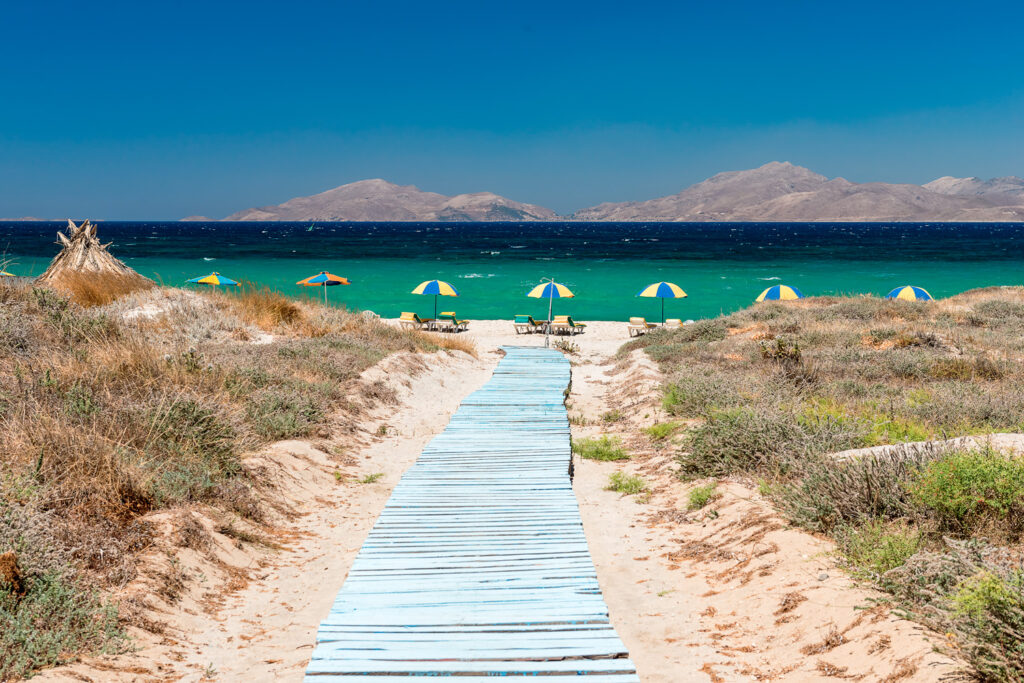 Sandy beach and turquoise sea in Kos, Dodecanese Greece