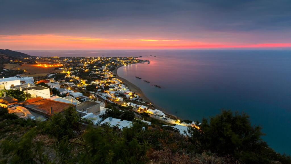 View of Molos village from Chora in Skyros island, Sporades Greece