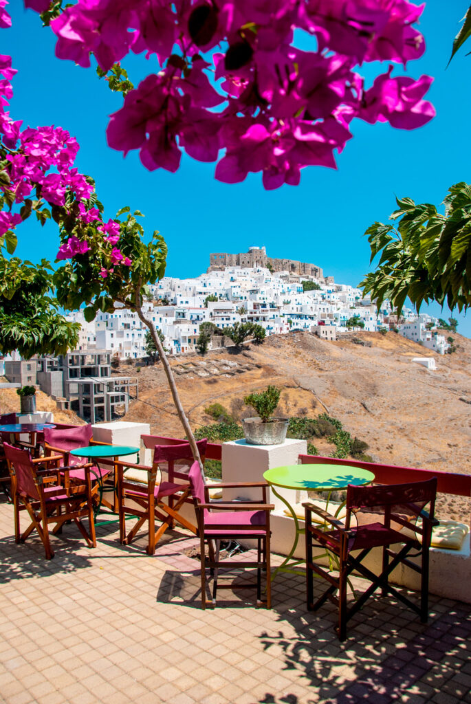 View of the castle in Chora Astypalea from a cafe terrace in Astypalea, Dodecanese Greece
