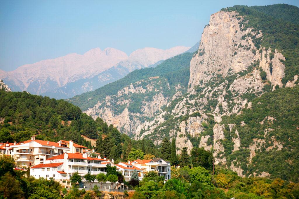 the small town, Litohoro, beneath Mount Olympus, Pieria, Macedonia Greece