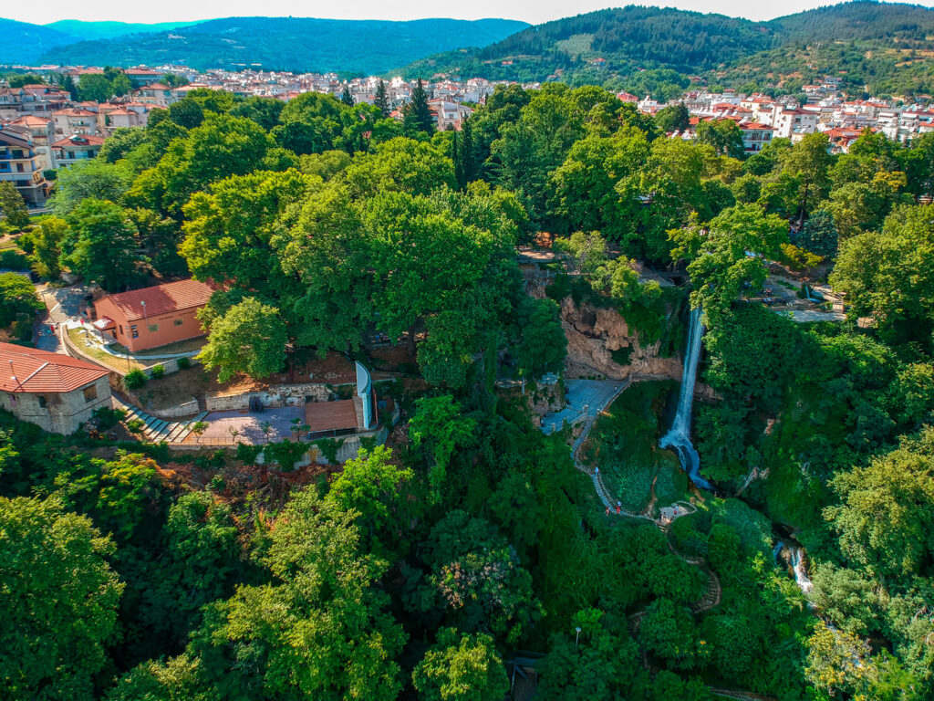 Aerial panoramic view of the powerful waterfalls of Edessa and the surrounded area in Edessa city, Greece
