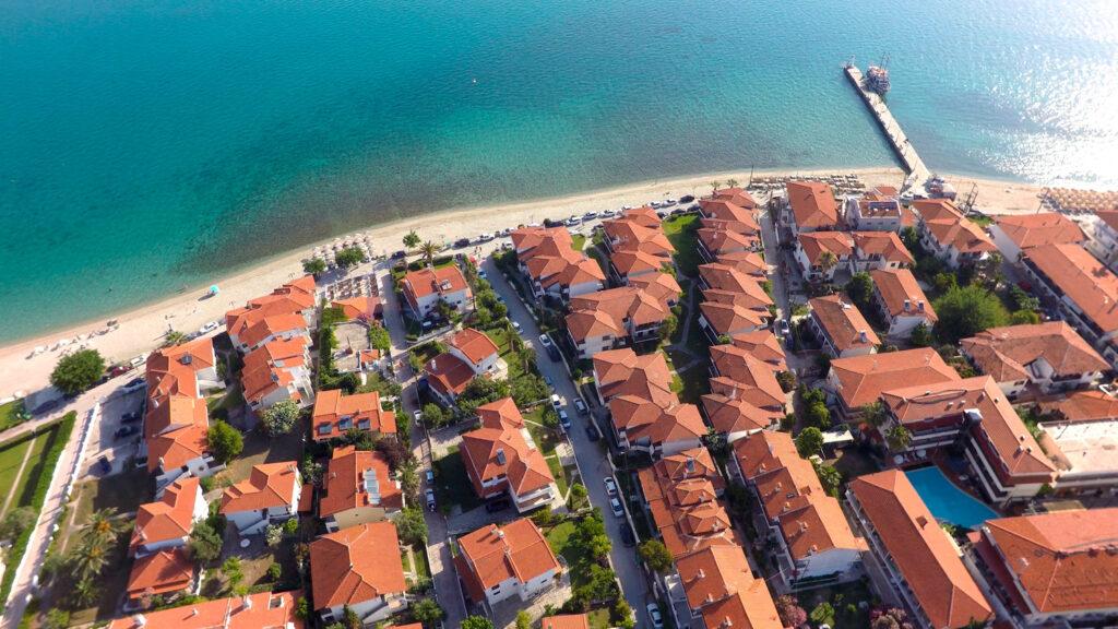 Aerial view of Pefkochori beach, Kassandra peninsula, Greece