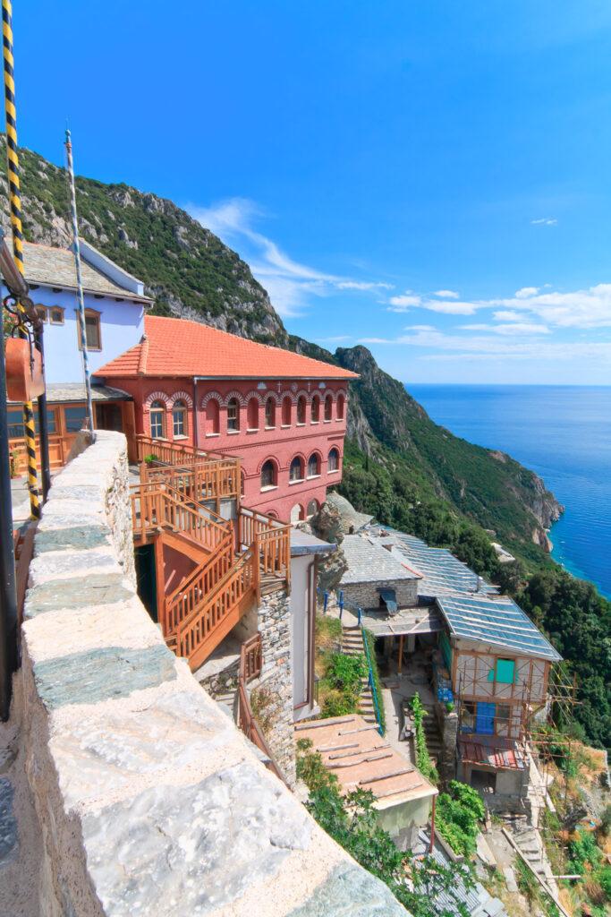 Agia Anna monastery guesthouses at Mount Athos, Halkidiki, Greece