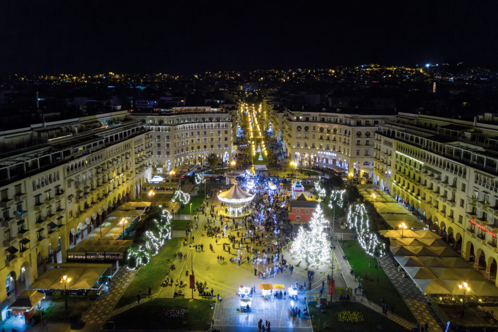 Aristotelous Square decorated for Christmas, Thessaloniki Greece