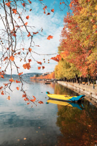 Autumn scene at Kastoria lake waterfront, West Macedonia Greece