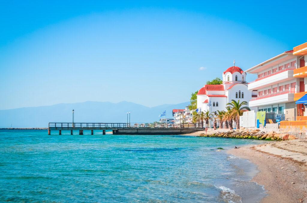 Paralia Katerini beach and church, Pieria, Macedonia Greece