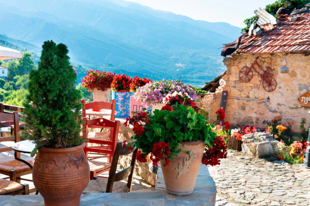 Beautiful flower pots in the village in of Old Panteleimonas, Pieria, Macedonia Greece