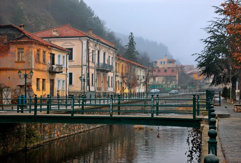 Beautiful old houses next to Sakoulevas river, Florina town, Macedonia Greece