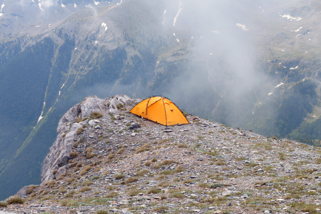 Camping at the top of Mountain Olympus