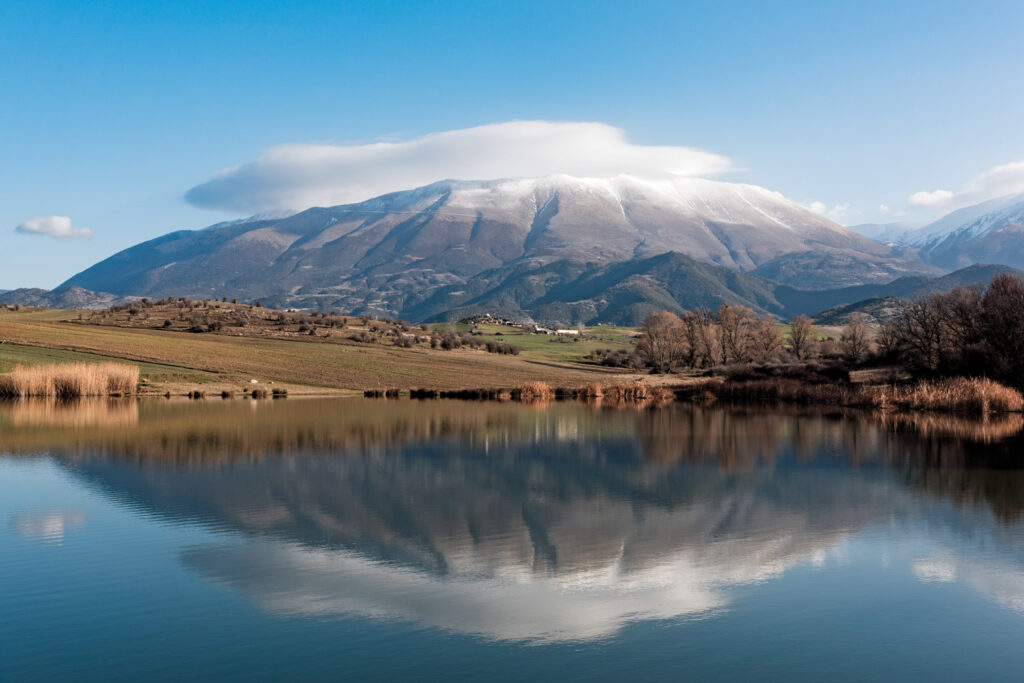 Distant view of Mount Olympus, the highest mountain of Greece and home of the ancient Greek gods