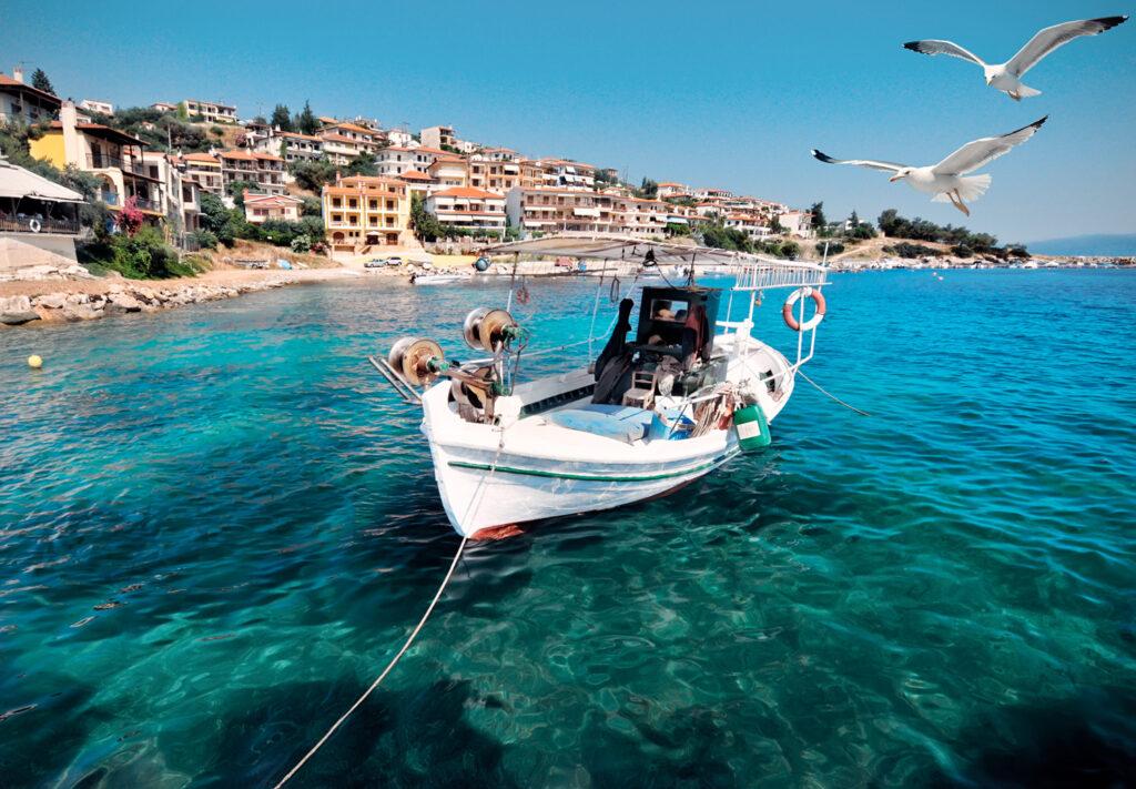 Fishermen boat in Pyrgadikia bay; Chalkidiki, Northern Greece