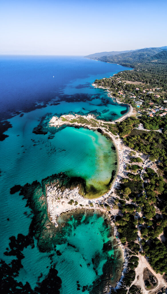 Aerial view of the beautiful Karidi beach in Vourvourou of Chalkidiki,Greece. Visit the summer hundreds of tourists daily from the Balkans and from Europe