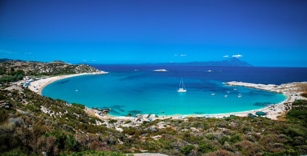 Beautiful Kriaritsi beach in the east coast of Sithonia on Halkidiki, Greece.