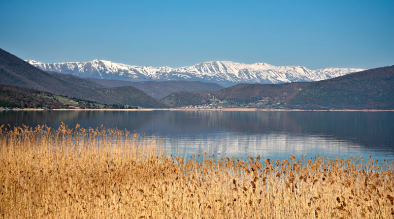 Landscape with panoramic view of Lesser Prespa Lake in Florina, West Macedonia Greece.