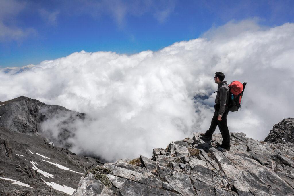Man on top of Mount Olympus, Macedonia, Greece