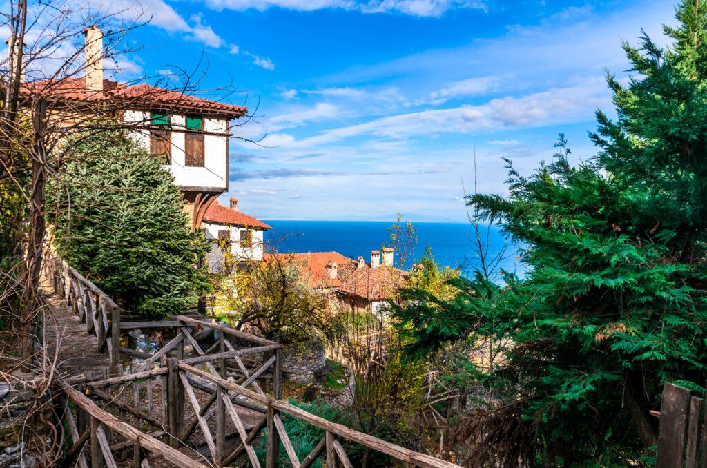 Old Panteleimonas or Palaios Panteleimonas the traditional settlement built on the slopes of Mount Olympus, Pieria, Macedonia Greece
