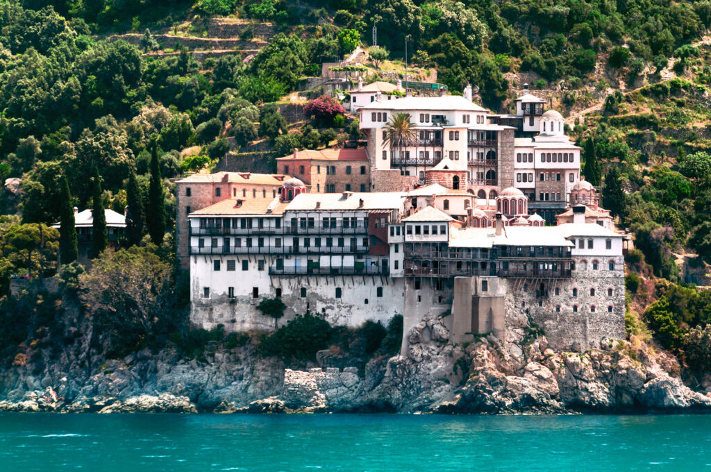 Osiou Gregoriou monastery at the holy Mount Athos in Northern Greece