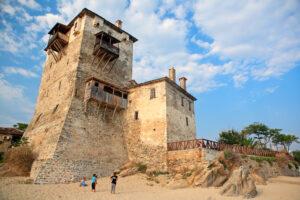Phospfori Tower in Ouranoupoli in Athos peninsula, Chalkidiki, Greece