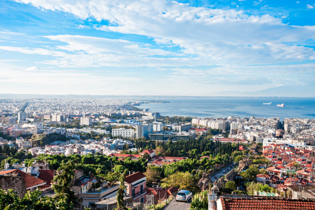 Thessaloniki aerial panoramic view. Thessaloniki is the second largest city in Greece and the capital of Greek Macedonia