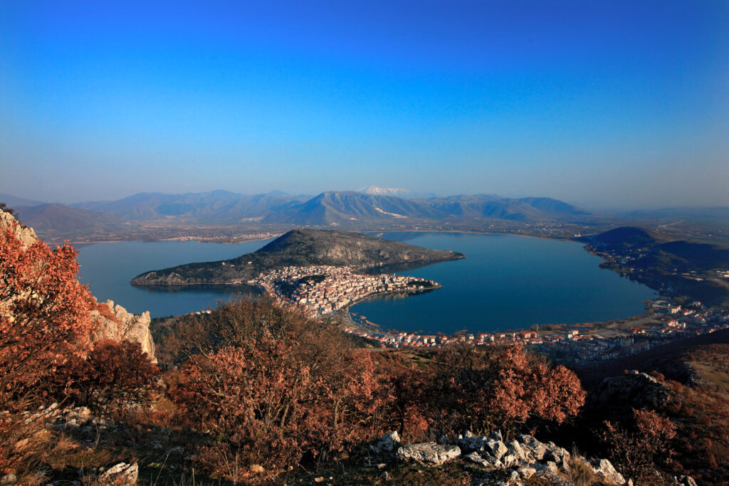 Kastoria town and lake, aerial view, West Macedonia, Greece
