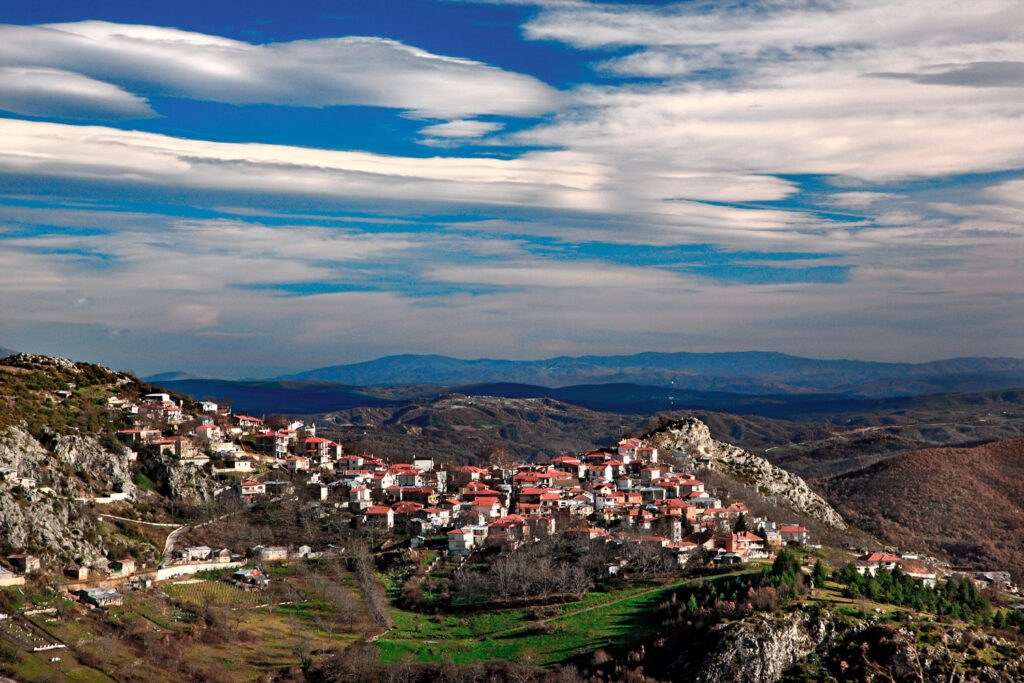 Panoramic view of Spilaio, one of the most beautiful Greek mountainous villages, Grevena, West Macedonia Greece