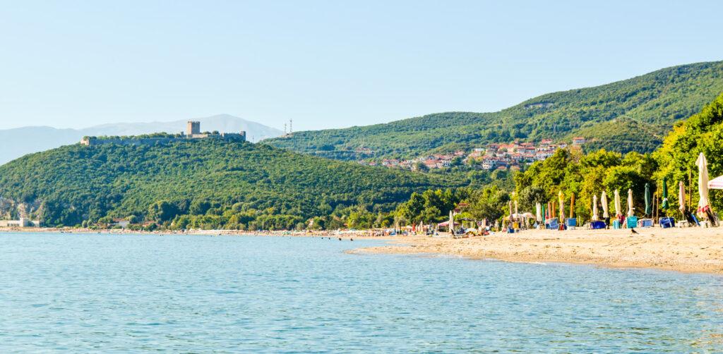 Paralia Skotinas Beach and Platamon Fortress, Greece.