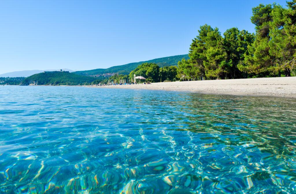 Paralia Skotinas Beach and Platamon Fortress in the distance, Pieria, Macedonia Greece
