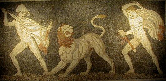 Pella archaeological site, Lion Hunt Mosaic, Macedonia Greece