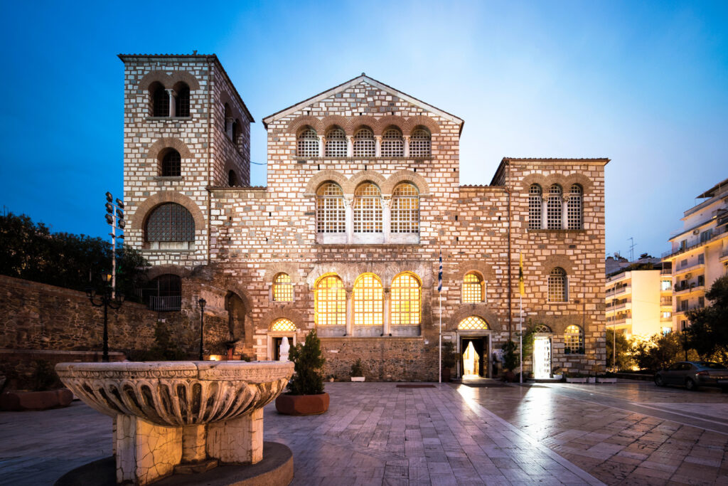 Saint Demetrius Basilica in Thessaloniki, Greece. It is the most important Church of Thessaloniki, dedicated to the Patron Saint of the City, and a fine sample of Byzantine Religious Architecture.