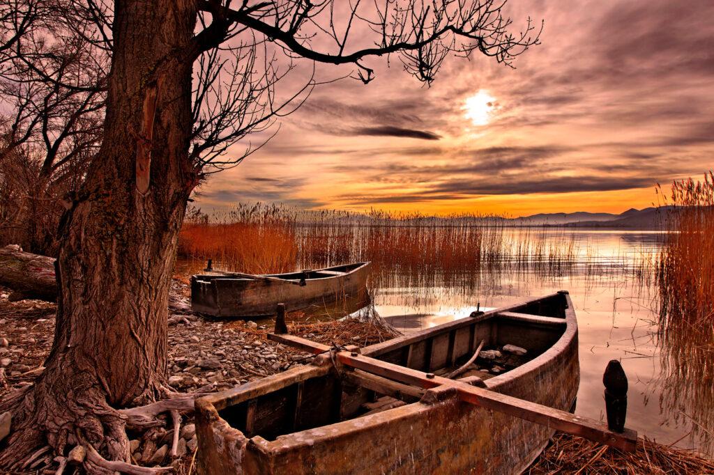 Sunset at Petron lake close to Amyndaio town, Florina, Macedonia Greece