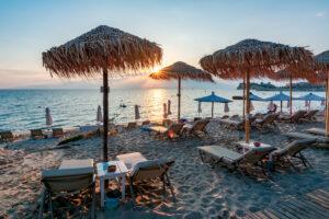Sunset on Siviri beach, Kassandra peninsula, Hhalkidiki