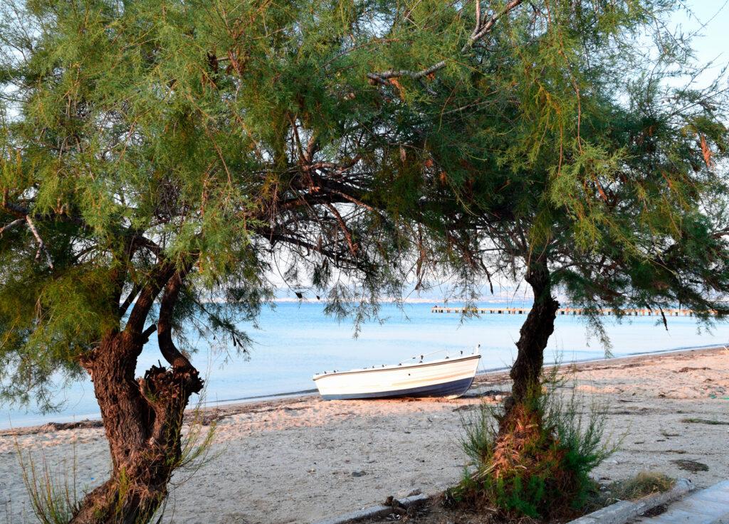 Seascape of Peraia beach, suburb of Thessaloniki, Greece