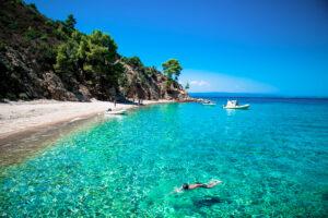 Beautiful Robinson beach on the east coast of Sithonia in Halkidiki, Greece.