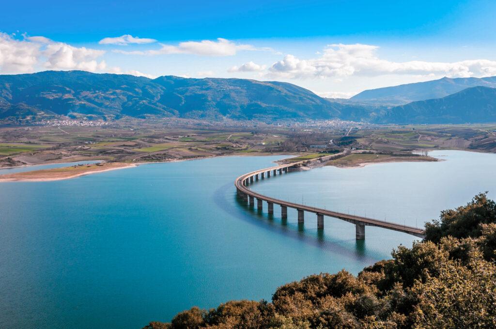 The bridge of Servia over Polyfytos lake in Kozani, Macedonia Greece