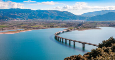 The bridge of Servia over Polyfytos lake in Kozani, Macedonia Greece