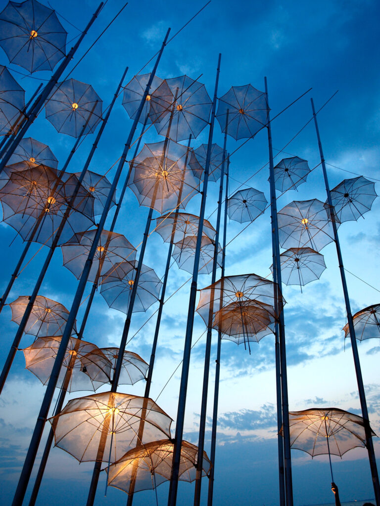Thessaloniki Umbrellas monument in Thessaloniki, Greece.