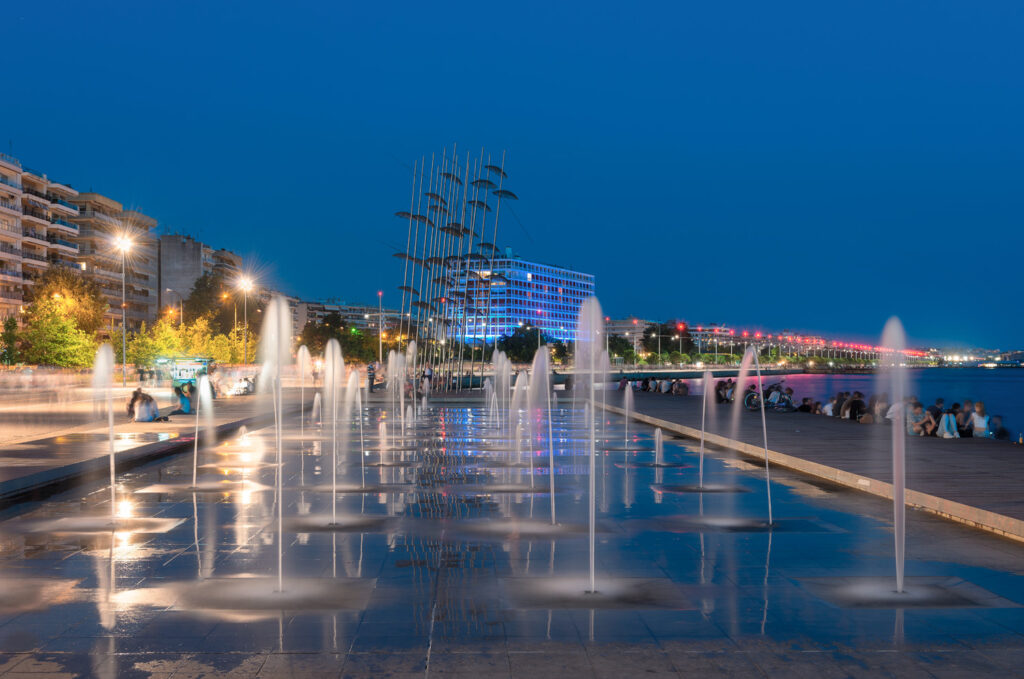 Thessaloniki waterfront by night, Macedonia Greece
